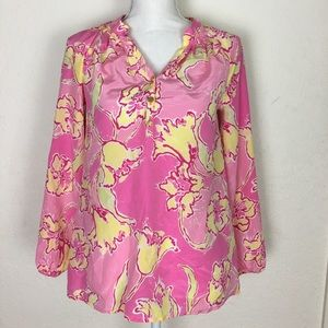 Lilly Pulitzer Floral Pink & Yellow Blouse XS